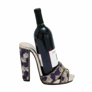 Shoe Wine Holder with Shimmer of Sequins and Gold Finished Brand Woodland