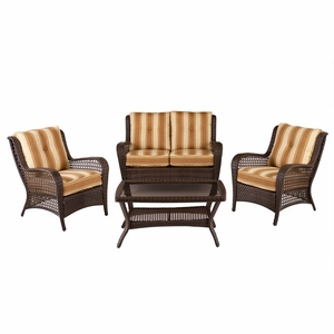 Siesta Wicker Sitting Set with Glass Top Coffee Table by Southern Enterprises