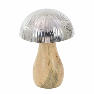 Silver And Brown Mushroom Sculpture Small - 90896 by Benzara