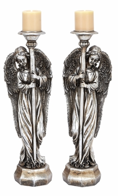 Silver Angel Candle Holders 2 Assorted Holiday Decor