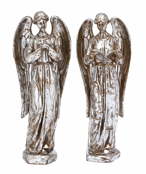 Silver Angel Statue Holiday Decor Set of 2 Holiday Decor