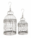 """Silver Colored Metal Bird Cage Set of 2 S/2 20"""", 16""""H by Woodland Import"""