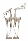 "Silver Colored Metal Reindeer Set of 2 16""W, 46""H by Woodland Import"