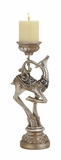 "Silver Colored Polystone Reindeer Candle Holder 5""W, 15""H by Woodland Import"