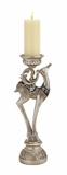 "Silver Colored Polystone Reindeer Candle Holder 6""W, 19""H by Woodland Import"