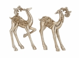 "Silver Colored Polystone Reindeer w/ Golden Designs 10""W, 14""H by Woodland Import"