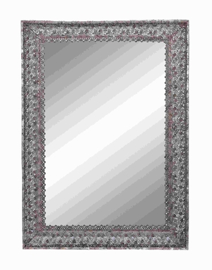 Silver Finished Metal Frame Mirror with Dainty Floral Motifs Brand Woodland