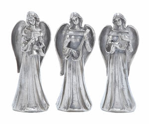 "Silver Holy Angels Statues 3 Assorted 12"" Height Holiday Decor"
