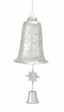 """Silver Metal Christmas Bell w/ Star & Small Bell Clapper 10""""W, 24""""H by Woodland Import"""