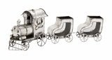"Silver Metal Xmas Train w/ 2 Carriages 30""W, 10""H by Woodland Import"
