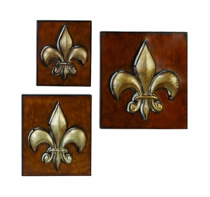 Silver N Brown Fleur Li Dis Metal Wall Decor Plate - Set of 3 Brand Woodland