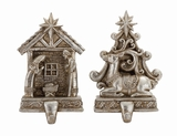 """Silver Polystone Stocking Holder Set of 2 w/ Nativity & Reindeer Assorted 5""""W, 8""""H by Woodland Import"""