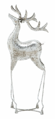 Silver Santa Reindeer Statue Holiday Decor