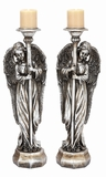 "Silver Shaded Polystone Angel Candle Holder Set of 2 Assorted 8""W, 24""H by Woodland Import"
