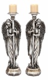 """Silver Shaded Polystone Angel Candle Holder Set of 2 Assorted 8""""W, 24""""H by Woodland Import"""