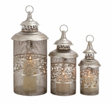 Silver Shiny Finish Stylish Metal Candle Lantern by Woodland Import