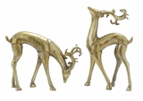 Silver Xmas Deer Statues Set of 3 Holiday Decor
