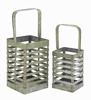 Simple and Attractive Metal Galvanized Lantern (Set of 2) Brand Woodland