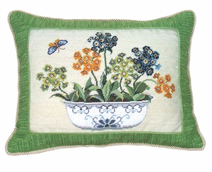 """Simple and Colorful Primrose In Pot Petit Point Pillow 14x18"""" by 123 Creations"""