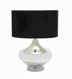 Simple and Elegant Glass Metal Table Lamp with Brown Drum Shade Brand Woodland