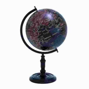 Simple and Long Lasting Metal Wooden Globe with Attractive Print Brand Woodland