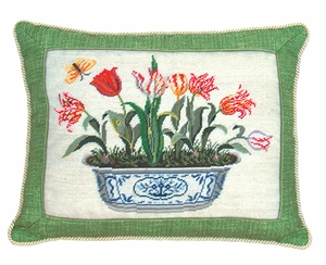"""Simple and Lovely Tulip in Pot Petit Point Pillow 14x18"""" by 123 Creations"""