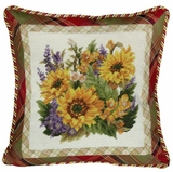 "Simple and Stunning Sunflower Needlepoint Pillow 18x18"" by 123 Creations"