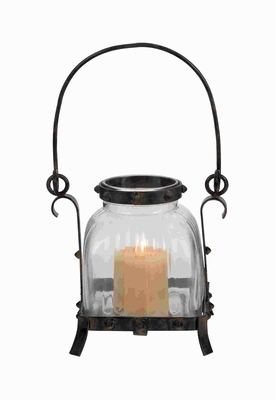 Simple and Unique Metal Glass Lantern in Rustic & Antique Design Brand Woodland