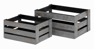 Simple and Well Built Wood Crate Lazed in Grey Hue (Set of 2) Brand Woodland