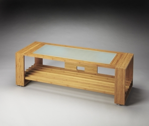 Simple Ivanhoe Bamboo & Glass Entertainment Console by Butler Specialty