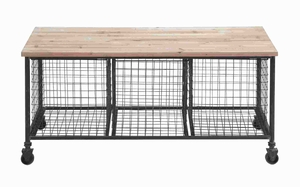 Industrial Finish Storage Bench with 3 Wire Baskets - 50204 by Benzara