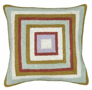 "Simple Squares Green and Orange Hooked Pillow 16x16"" by 123 Creations"