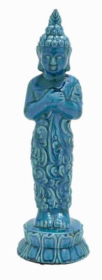 Simple Unique Styled Ceramic Buddha in Distinctive Blue Color Brand Woodland