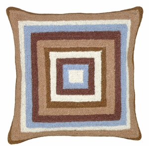 "Simplicity in Squares Blue Brown Hooked Pillow 16x16"" by 123 Creations"