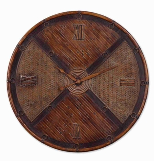 Simplified Wall Clock With Natural Layers of Bamboo And Woven Rattan Brand Uttermost