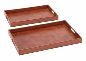 Simply Charming Set of 2 Wood Real Leather Tray by Woodland Import
