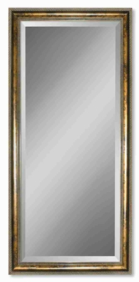 Sinatra Wall Mirror with Gold Leaf and Blotched Stain Frame Brand Uttermost