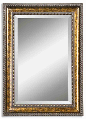 Sinatra Wall Mirror with Gold Leaf Undercoat and Brown Stain Brand Uttermost