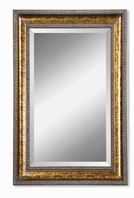 Sinatra Wall Mirror with Thick Hand Bronze Leaf Frame Brand Uttermost