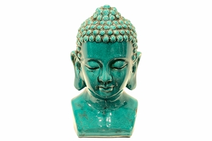 Singapore's Celestial Ceramic Buddha Head Blue