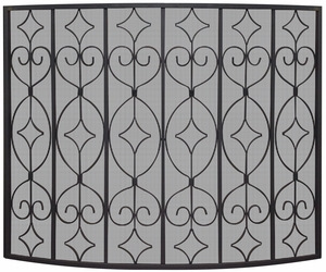 Single Panel Black Wrought Curved Ornate Screen by Blue Rhino