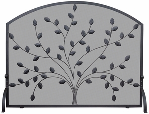 Single Panel Black Wrought Iron Screen with Leaves by Blue Rhino