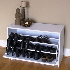 Single Smart White Deluxe Shoe Cabinet with Stylish Handles by 4D Concepts