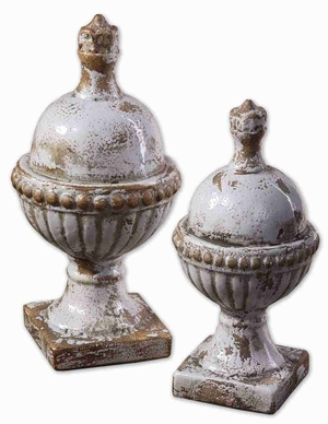 Sini Style Ceramic Rooftop Finial With Powder Blue Undertones Brand Uttermost