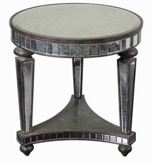 Sinley Mirrored Accent Table With Distressed Ebony Stained Wood Brand Uttermost