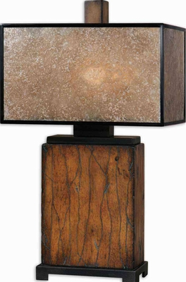 Sitka Wood Table Lamp with Light Rottenstone Glaze Brand Uttermost