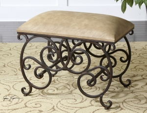 Sitting Bench - Individual Dressing Bench With Cushion Seat Brand Uttermost