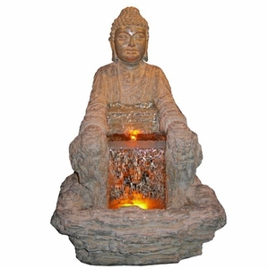 Sitting Buddha With LED Backlit Water Flow Renowned Religious Theme Brand Domani