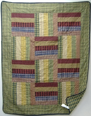 Six Bars Plaid Handmade Cotton Quilt Throw by American Hometex