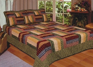 Six Bars Plaid Quilt - 2 Shams Only Brand American Hometex